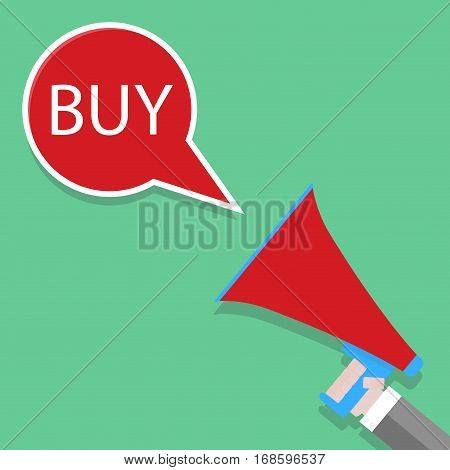 Announcement of buy. Shouts megaphone. Template of banner for discount shopping. Vector illustration