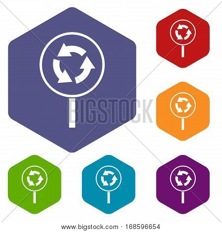 Circular motion road sign icons set rhombus in different colors isolated on white background