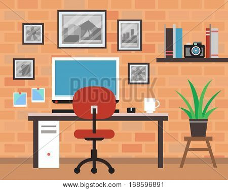 Vector Modern Photographer Room with Brick Wall