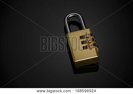 The metal combination padlock on a black background