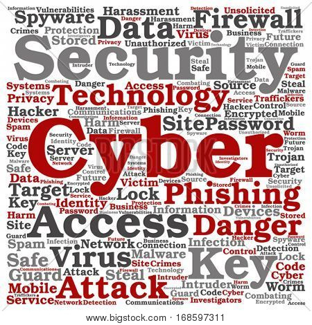 Vector concept conceptual cyber security access technology square word cloud isolated on background metaphor to phishing, key, virus, data attack, crime, firewall, password, harm, spam protection