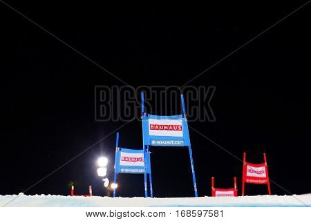 STOCKHOLM SWEDEN - JAN 31 2017: Blue and red slalom gates and black sky in the parallel slalom event at the Alpine Audi FIS Ski World Cup - city event January 31 2017 Stockholm Sweden