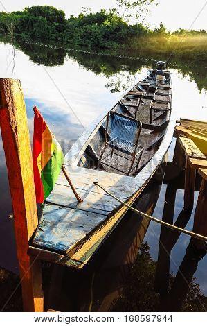 Boat moored in Rio Yacuma Bolivian Amazon
