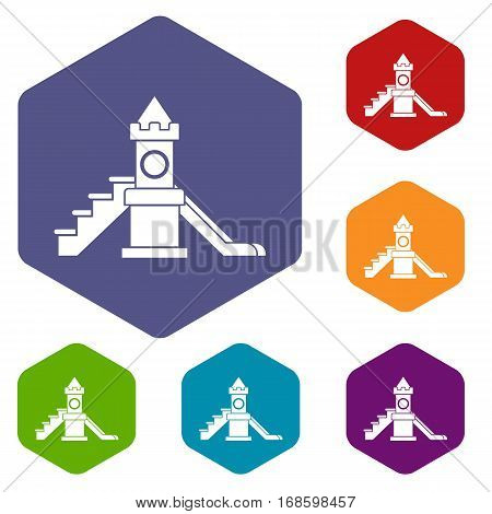 Slider, kids playground equipment icons set rhombus in different colors isolated on white background