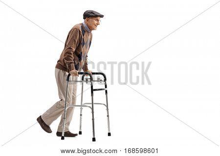 Full length portrait of a senior using a walker isolated on white background
