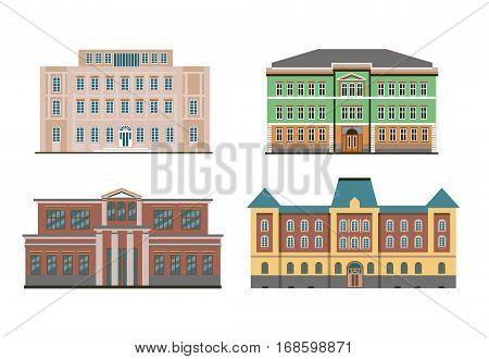 Set Of Vector Various Flat Historical Buildings