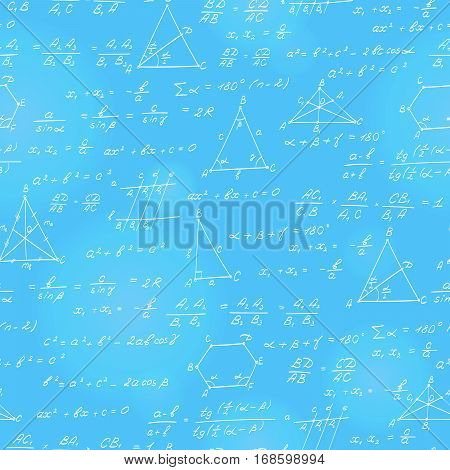 Seamless pattern on the theme of the subject of geometry formulas and charts of theorems a bright outline on a blue background