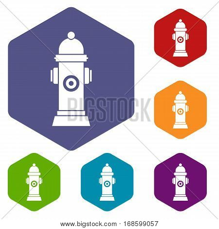 Hydrant icons set rhombus in different colors isolated on white background