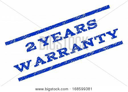 2 Years Warranty watermark stamp. Text tag between parallel lines with grunge design style. Rotated rubber seal stamp with scratched texture. Vector blue ink imprint on a white background.
