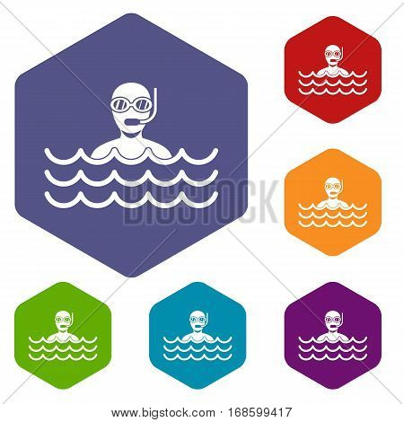 Man with scuba icons set rhombus in different colors isolated on white background