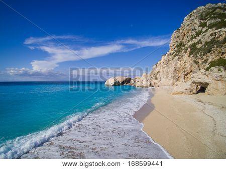 Aerial of the amazing Kathisma beach in Lefkada island Greece