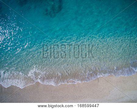 Aerial of the amazing Porto Katsiki beach in Lefkada island Greece