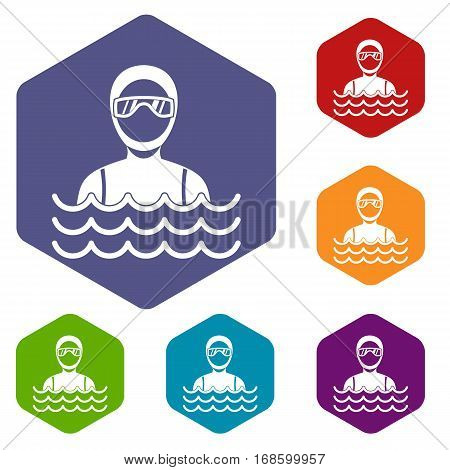 Scuba diver man in diving suit icons set rhombus in different colors isolated on white background