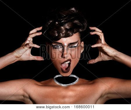 Screaming Young Woman With A Neckless Makeup