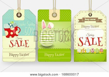 Easter Sale Tags in Retro Style. Vector Illustration.