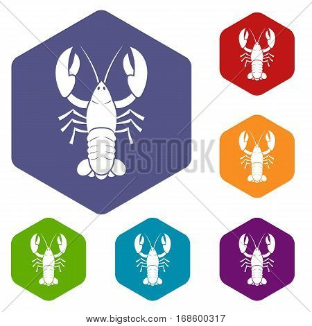 Crawfish icons set rhombus in different colors isolated on white background