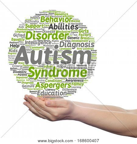 Concept conceptual childhood autism syndrome symptoms or disorder abstract word cloud held in hands isolated on background metaphor to communication, social, behavior, care, autistic speech difference