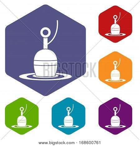 Floating bobber icons set rhombus in different colors isolated on white background