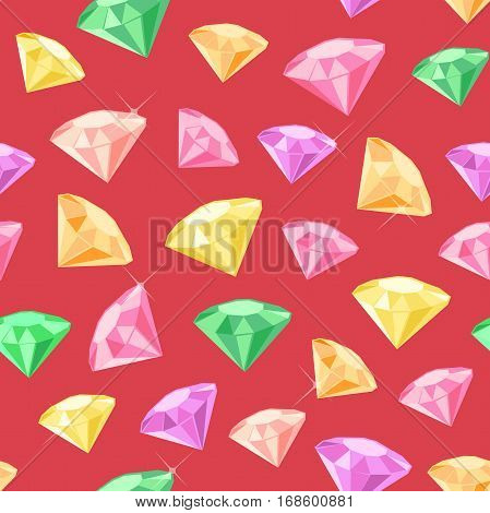 Vector seamless pattern made of colored gems