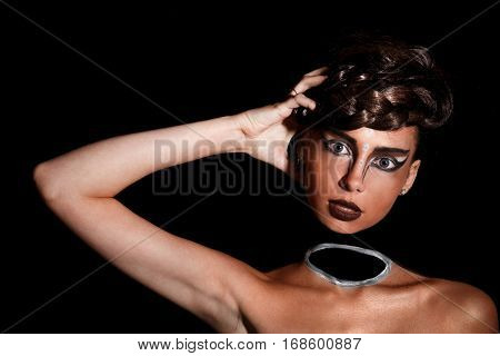 Woman With A Neckless Makeup