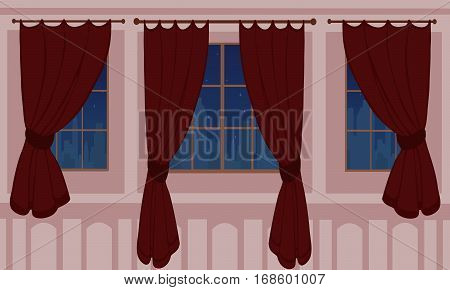 Design of windows in urban apartment. Beautiful view from the window to the silhouette of the city. Creative home interior. Flat style vector illustration. Burgundy curtains on the bright background.