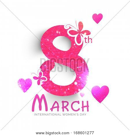 Shiny pink text 8th March decorated with butterflies and hearts for Women's Day celebrations.