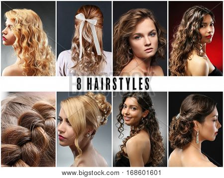 Collage of eight women hairstyles