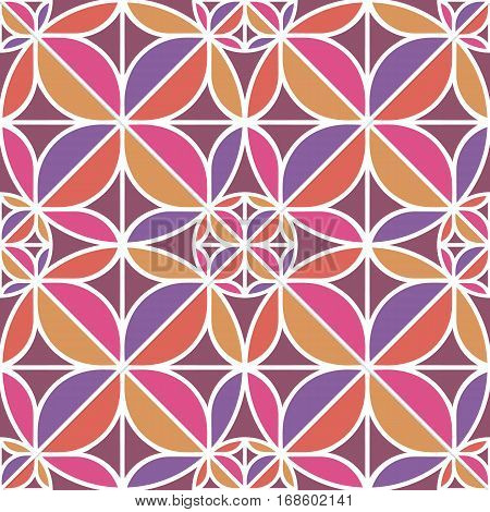 fancy colorful pink geometric seamless pattern with round shapes