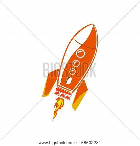 Red Rocket, Spaceship Isolated on White Background ,Illustration