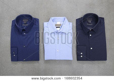 Business classic men's shirts with different prints.-gray background