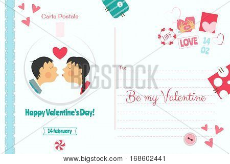 Postcard with Valentines Day Greeting. Backdrop of  Card for Holiday with Sticker. Love Concept. Vector Illustration.