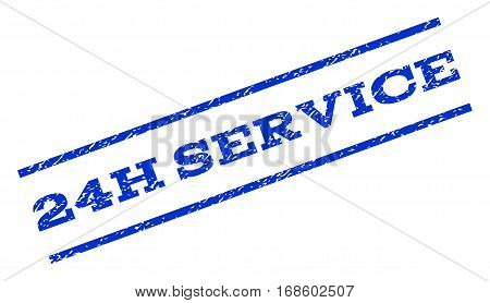 24H Service watermark stamp. Text caption between parallel lines with grunge design style. Rotated rubber seal stamp with dust texture. Vector blue ink imprint on a white background.