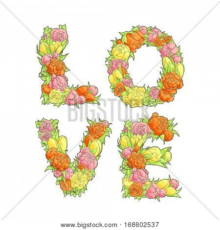 Romantic bright word Love from flowers