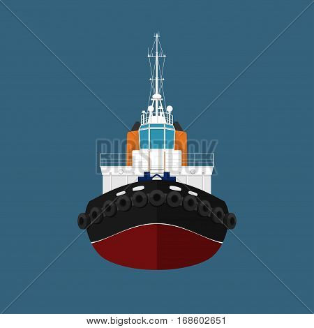 Front View of the Vessel, Tugboat, Push Boat, Tow Boat for to Towage and Mooring of Other Courts