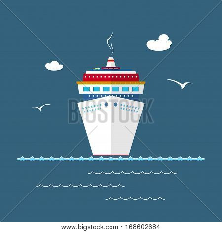 Cruise Ship at Sea, Front View of the Liner ,Travel Concept
