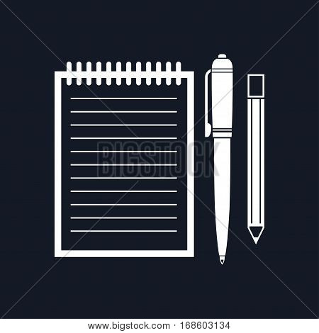 Notebook with a Pen and Pencil, Jotter Isolated on Black Background ,Office Equipment