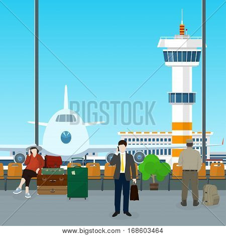 Waiting Room with People in Airport ,View on Airplane and Control Tower through the Window from a Waiting Room ,Scoreboard Arrivals at Airport ,Travel Concept, Flat Design
