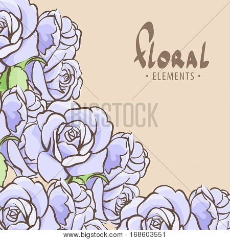 Bright floral background with blue roses on light background
