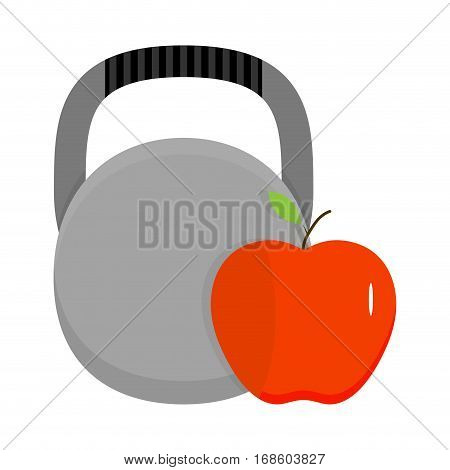 Kettlebell and apple. Health sport fitness and diet vector illustration