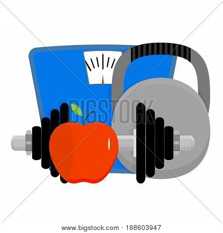 Sports lifestyle concept. Losing and health power strength conceptual. Vector illustration
