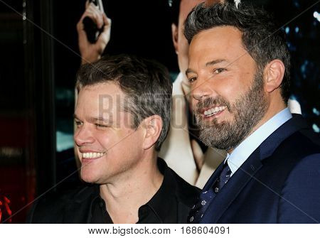 Matt Damon and Ben Affleck at the Los Angeles premiere of 'Live By Night' held at the TCL Chinese Theatre in Hollywood, USA on January 9, 2017.