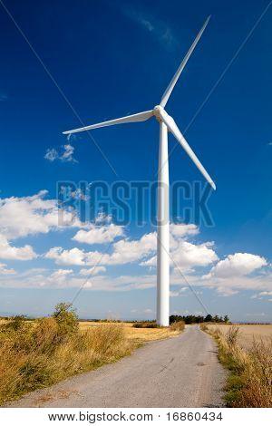 wind turbine on blue sky