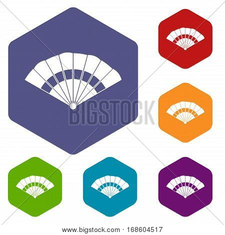 Fan icons set rhombus in different colors isolated on white background