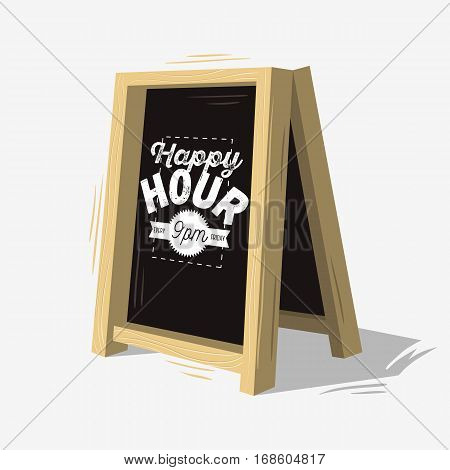 Happy Hour New Age Vintage Typographic Poster Design On A Wooden Restaurant Caf Bar Chalk Blackboard Menu For Promotion. Vector Graphic.