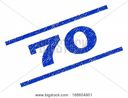 70 watermark stamp. Text tag between parallel lines with grunge design style. Rotated rubber seal stamp with unclean texture. Vector blue ink imprint on a white background.