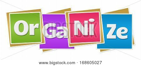 Organize text alphabets written over colorful background.