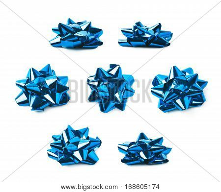 Decorational bow made of glossy blue tape, composition isolated over the white background, set of seven different foreshortenings