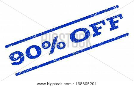90 Percent Off watermark stamp. Text tag between parallel lines with grunge design style. Rotated rubber seal stamp with unclean texture. Vector blue ink imprint on a white background.