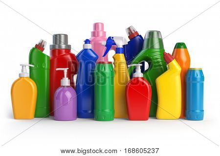 Detergent bottles or contaners. Cleaning supplies isolated on white background. 3d illustration