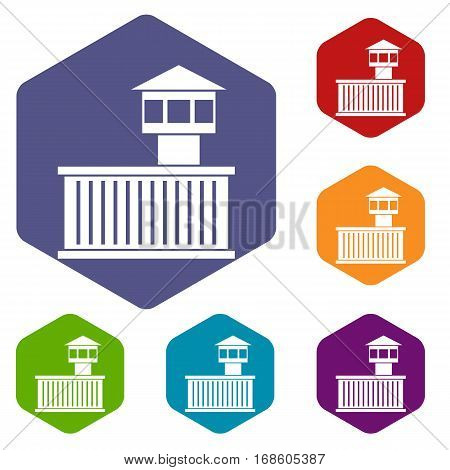 Prison tower icons set rhombus in different colors isolated on white background